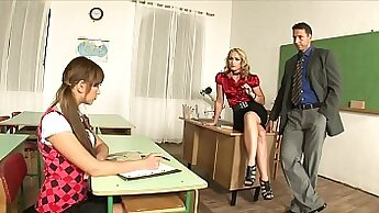Big boobs schoolgirl threesome with teachers