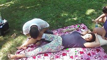 Chinese girls eating breakfast Massage turns into intense