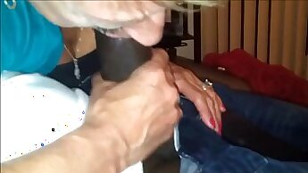Black granny in shirt slide cock over pussy