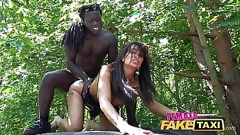 black cocks doggystyled in fake taxi