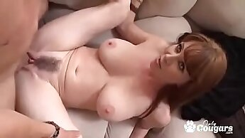Busty hairy mature milf gets rim fucked on camera