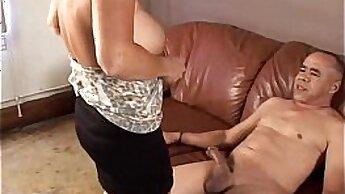 Cumming on Simple Granny Daughter