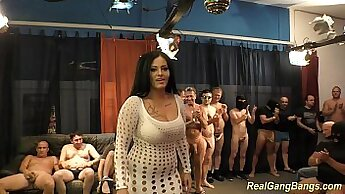 Amazing office girl with huge tits gangbanged then cum on top on hood floor