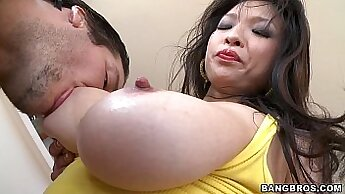 Asian Milf gets turned on by a dude