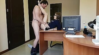 Blonde MILF got her tit gaged by her young saucy boss