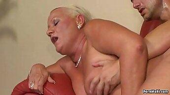 Busty Brunette Granny Fucked Anally