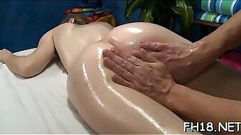 Amateur masseuse fucked after massage