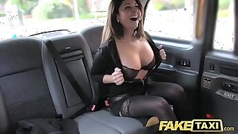 Boobalicious brunette bitch Anni Love rides hard dick in stockings and gets cum on round face