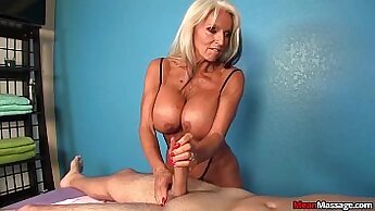 Client dominates wife with wicked handjob