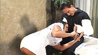 Busty nurse polishes patient hospitalization