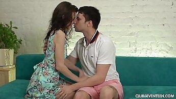Asian teen Lily Blossom sucking her boyfriends cock