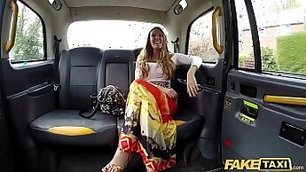 Busty barmaid fucked in the backseat of a taxi