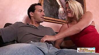 Blonde Housewife BJ And Masturbate