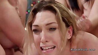 Ardent blonde lesbians enjoy hard anal orgy