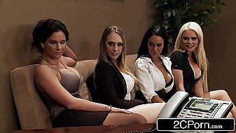 Cute office babe in rough gangbang