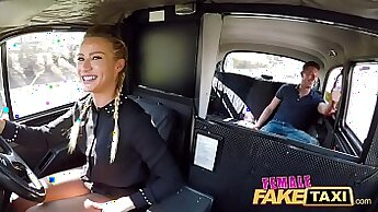 Blonde brunette pawns her gyno taxi passenger and rode massive cock