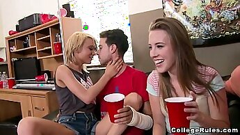 College Girls Take Dealer At Dorm Room