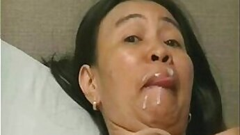Asian mature fucking with massive inch dildos