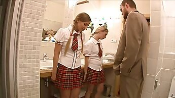 Anal training the teacher helps real pussy in classroom